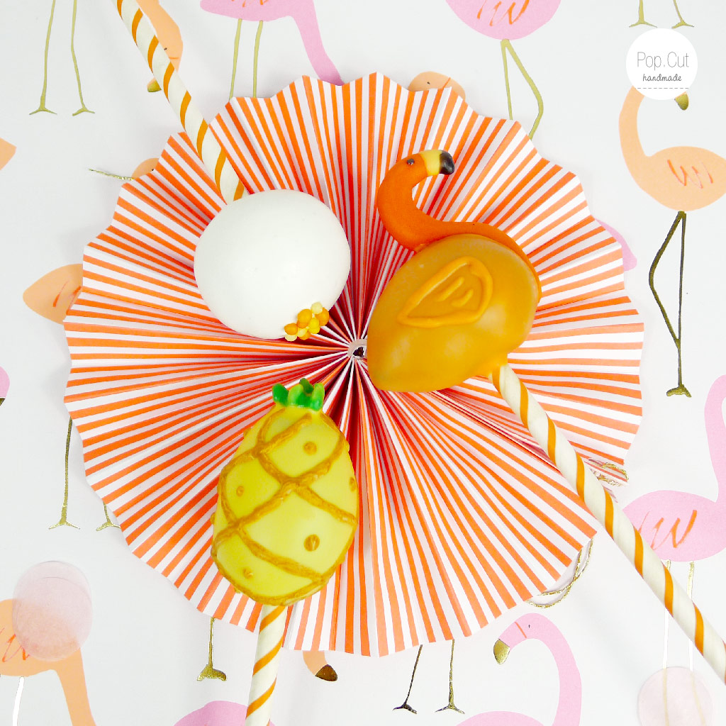 Cake Pops Flamingo orange mit Deko